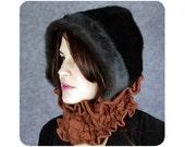 BROWN HAT faux fur hood hoodie scarf cowl