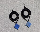 black crochet EARRINGS lapis lazuli