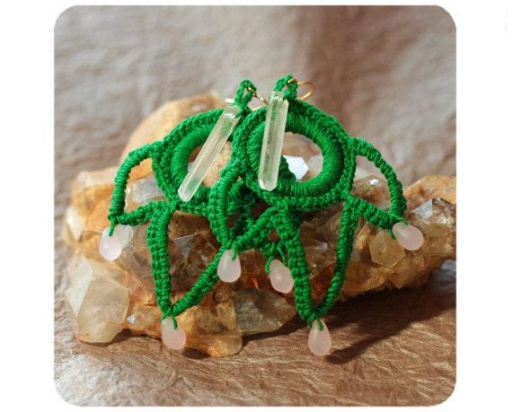 Crystal EARRINGS green pink beaded crochet