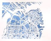 Boston City Map Original Watercolor 8x10 Modern Grid City Landscape blueprint