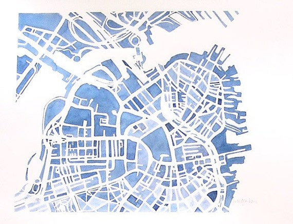 Boston City Map Original Watercolor 8x10 Modern Grid City