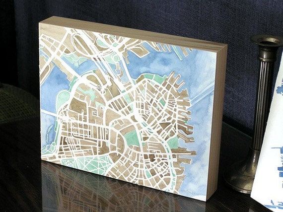 Reserved Boston MA City Map Original Watercolor 12x9 sepia mint green blue white Modern Grid City Landscape