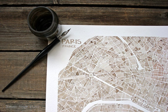 Paris France watercolor city map 10x10 ready to frame