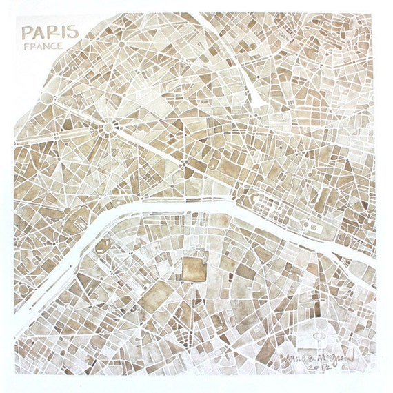 Paris France 8x8 Sepia Watercolor Map Print Home Decor