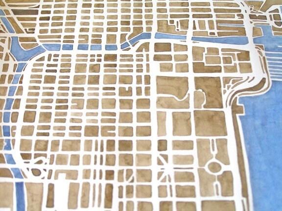 Chicago City Map Original Watercolor 10x8 Modern Grid Geometry