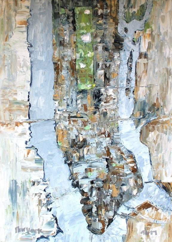 New York City 16x12 Large Map Oil Painting On By Summitridge