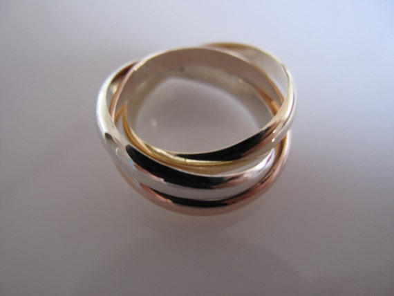 9 ct Solid Gold Trinity Russian Wedding Ring 4 mm x 1.2 mm