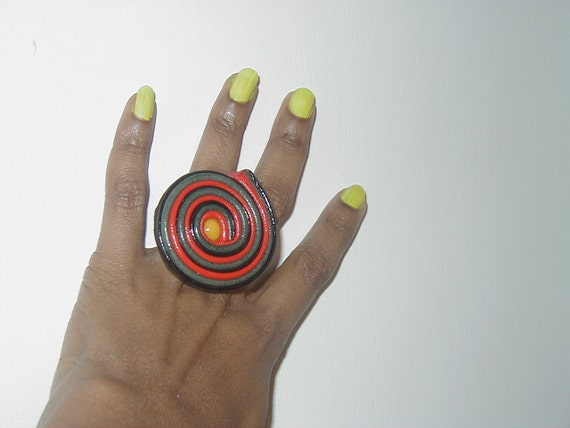 Leather ring spiral, rbg design.(Reduced)