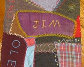 Vintage Crazy Quilt Square Detailed Stitching and Embroidery--Treasury Item