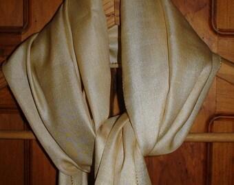 Luxurious Silk Scarf, Contrasting Drawnwork Hem, 1940s New Stock
