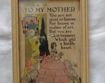 1920's Buzza Motto Silhouette Framed Art Print, To My Mother -- Treasury Item
