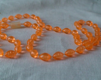 Bubble Lucite Tangerine Necklace c. 1940, Oval Beads, Handtied Knots