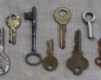Antique Eight Key Collection, Skeleton Key to Terryvale Conn. USA House Key