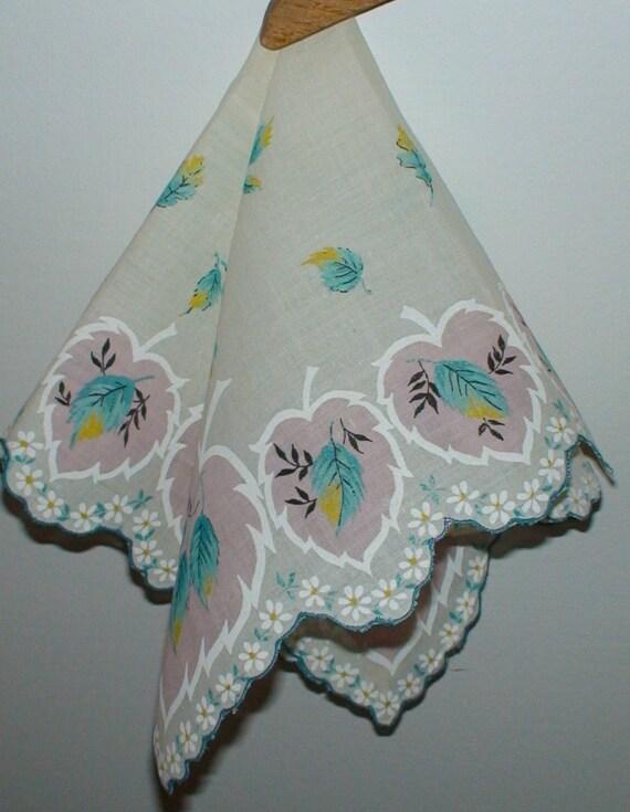 Vintage Scalloped Edged Leaf Motif Handkerchief, New Stock -- Treasury Item
