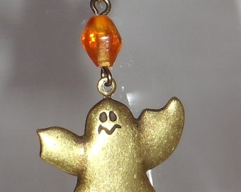 Brass Ghost with Bead Halloween Earring