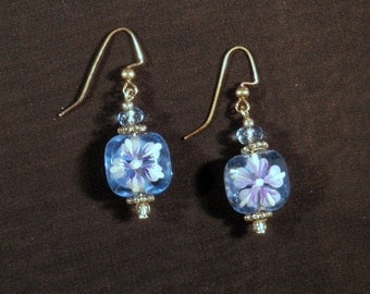 Blue and lavender floral dangle glass bead earrings