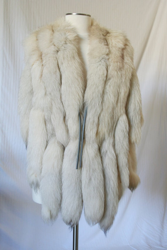 RESERVED   Vintage Luxurious Arctic Fox Fur Vest Jacket Coat Tails...1970s