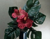 Memorial Flowers for Grave Decoration red hibiscus monstera leaves
