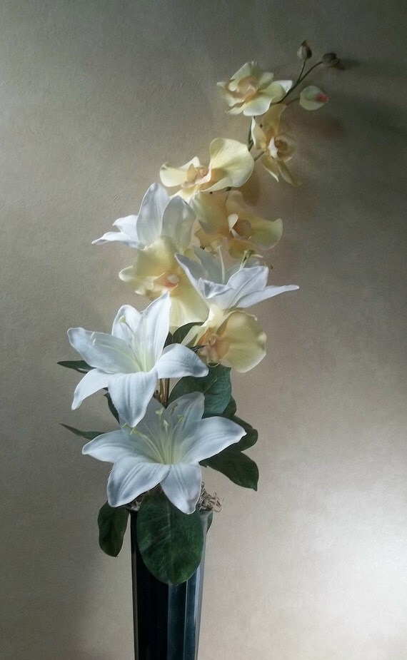 Memorial Flowers for Grave Decoration white lilies yellow orchids cemetery flowers memorial flower arrangement grave flowers headstone