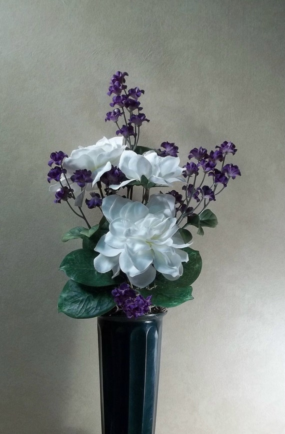 Memorial Flowers for Grave Decoration white gardenias and purple baby's breath