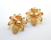 Vintage Earrings Peach Cluster Bead Clip-ons from W. Germany