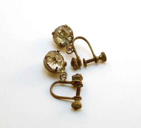 Vintage Rhinestone Earrings - Dangle Screwback Earrings