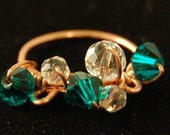Sale - Crystal Bead Jewelry, Copper Ring, Turquoise Crystal