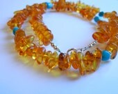 Baltic Amber Necklace, Adult Amber Necklace, Healing Jewelry, Turquoise Jewellery