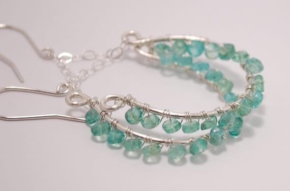 Handmade Silver Jewelry, Chandelier Earrings -Blue-Green Apatite Earrings
