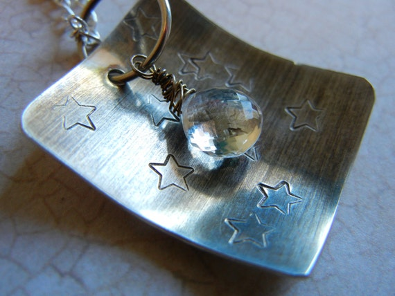 Astronomy Space Jewelry, Hammered Silver Necklace, Astrology Star Pendant Necklace, Sterling Silver Jewellery, Star Necklace