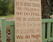 Family Rules In This Home Large Distressed Wood Sign