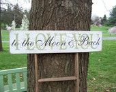 I Love You To The Moon and Back Crackled Distressed Wood Sign