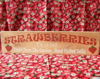 STRAWBERRIES Large Wood Sign Handmade Stained Beautiful