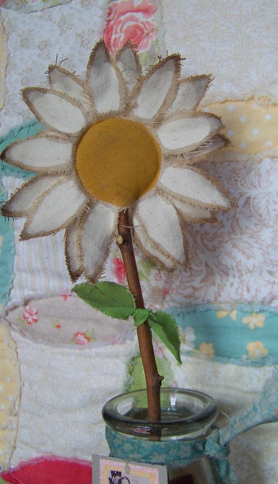 Handmade Fabric Daisy Flower in Milk Bottle