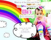 Rainbow Photo or Non-Photo Invitation (Printable - DIY)