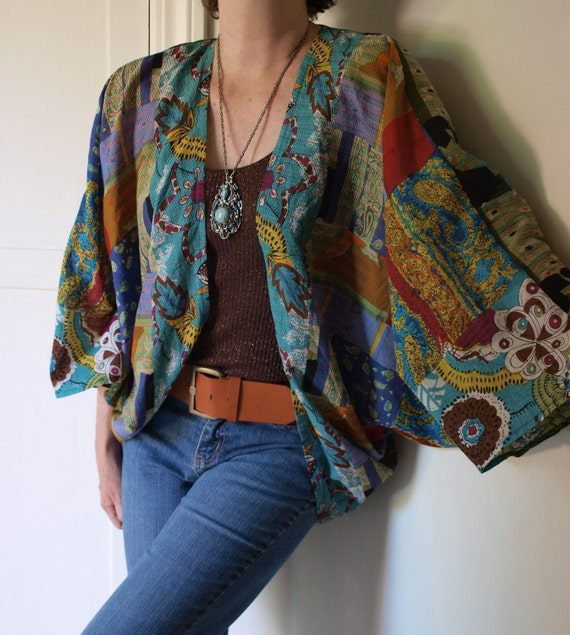 Upcycled Vintage Fabric Batwing Hippie Bohemian Floral Abstract Draped Cotton Gauze Shrug Top sz  L-1X