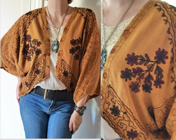 Upcycled Vintage Fabric Batwing Hippie Bohemian Embroidered Draped Shrug Top sz  SML