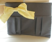 SALE: Gray Clutch with Yellow Bow