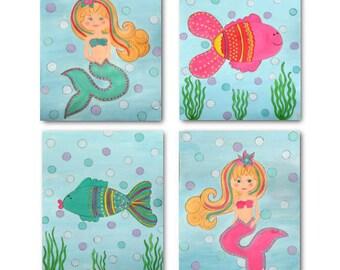 Little Mermaid Nursery Bedding art prints for kids baby girl room (set of 4)