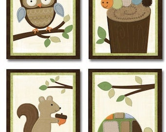 Woodlands Nursery Bedding art prints for Kids baby room (set of 4)