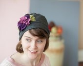 Winter Berry in varigated Plum and charcoal stretch Cloche Hat by Frum Fedora