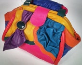 80s color block leather bag