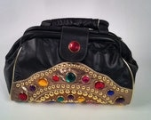 Big bedazzled 80s leather bag