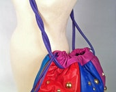 80s color leather bag