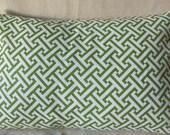Designer Pillow Cover 12 x 16 - Greek Key Green