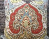 Designer Pillow Cover Lumbar, 16 x 16, 18 x 18, 20 x 20, 22 x 22 Latika Ikat Festival