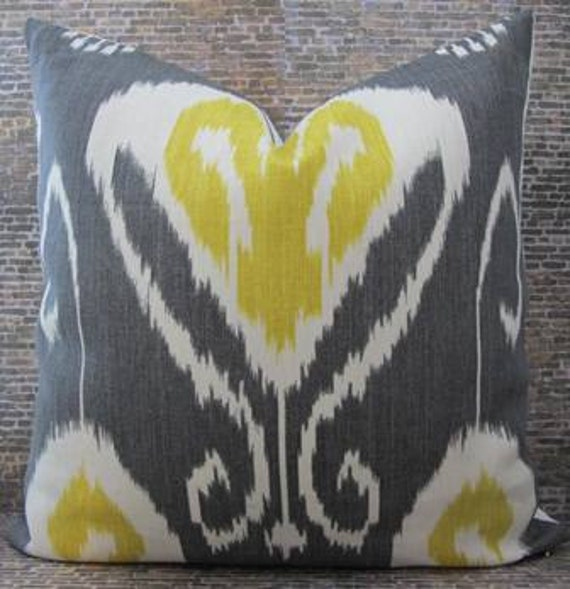Designer Pillow Cover  - 20 x 20 Bansuri  Ikat Charcoal
