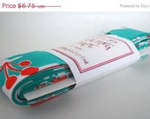 CLEARANCE Quilt Binding - Yule Critters in Aqua Handmade Quilting Tape, 3 Yards