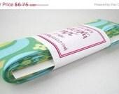 CLEARANCE Quilt Binding - Garden Maze in Green Handmade Quilting Tape, 3 Yards