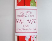 Bias Tape - Tossed Desserts in Red Handmade Double Fold Bias Tape, 3 Yards